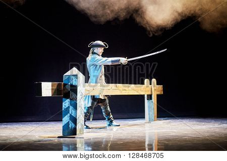 MOSCOW, RUSSIA - JAN 15, 2015: Actor Kirill Scherbina as Kurbsky on stage of Moscow theatre Et Cetera on the day of media preview of Boris Godunov directed by Peter Stein.