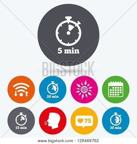 Wifi, like counter and calendar icons. Timer icons. 5, 15, 20 and 30 minutes stopwatch symbols. Human talk, go to web.
