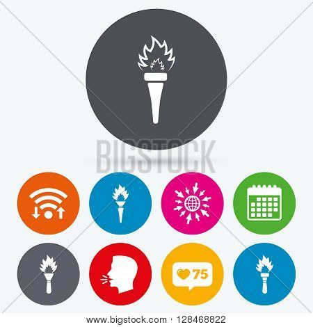 Wifi, like counter and calendar icons. Torch flame icons. Fire flaming symbols. Hand tool which provides light or heat. Human talk, go to web.