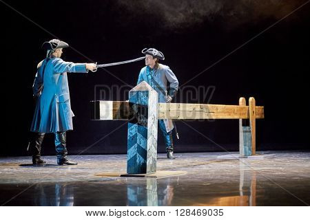 MOSCOW, RUSSIA - JAN 15, 2015: Actors K.Scherbina as Kurbsky and S.Davydov as Pretender on stage of Moscow theatre Et Cetera on the day of media preview of Boris Godunov directed by Peter Stein.