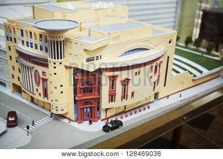 MOSCOW, RUSSIA - JAN 15, 2015: Layout of Moscow theatre Et Cetera. Theatre has two auditoriums - for  525 seats and for 150 seats.