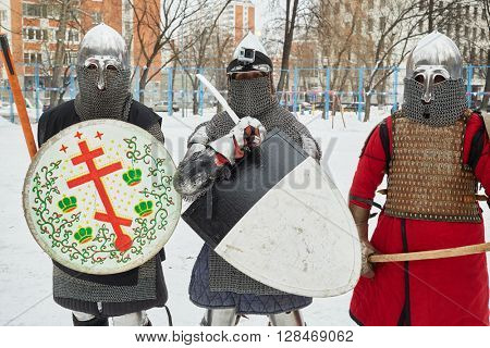 RUSSIA, MOSCOW - DEC 28, 2014: Warriors dressed in defensive equipment before battle during Military History maneuvers on Taganka.