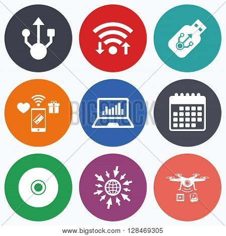Wifi, mobile payments and drones icons. Usb flash drive icons. Notebook or Laptop pc symbols. CD or DVD sign. Compact disc. Calendar symbol.