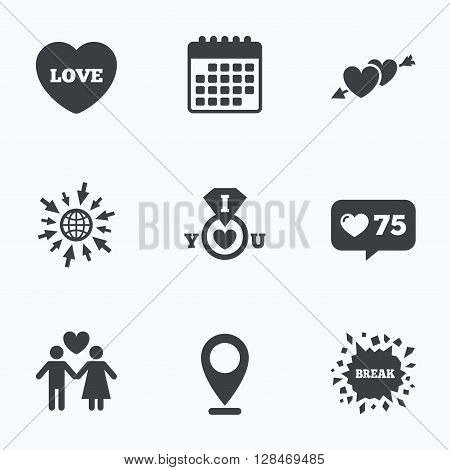 Calendar, like counter and go to web icons. Valentine day love icons. I love you ring symbol. Couple lovers sign. Location pointer.