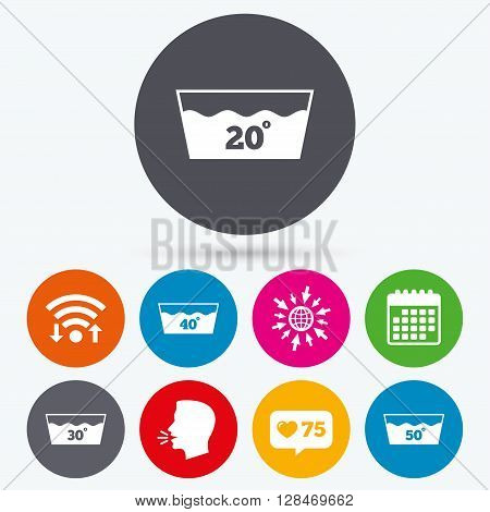 Wifi, like counter and calendar icons. Wash icons. Machine washable at 20, 30, 40 and 50 degrees symbols. Laundry washhouse signs. Human talk, go to web.