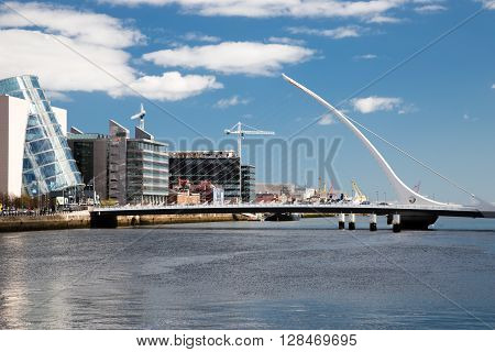 Dublin Ireland - April 18 2016: Samuel Beckett Bridge, Dublin, Ireland, April 18 2016