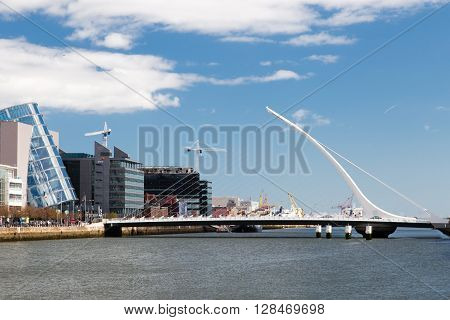 Dublin Ireland - April 18 2016: Samuel Beckett Bridge in Dublin Ireland on April 18 2016