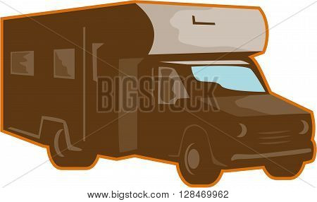 Illustration of a campervan motorhome rv caravan viewed from side on isolated background done in retro style.