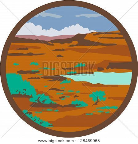 Illustration of a desert or arid steppe with water basin lake set inside circle done in retro style.