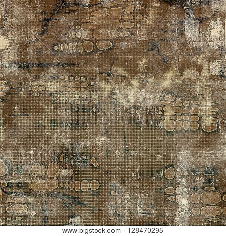 Old grunge background or aged shabby texture with different color patterns: yellow (beige); brown; gray; black; white