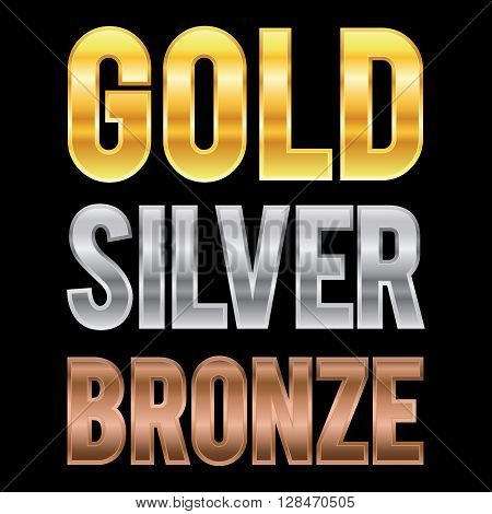 Vector stock of gold silver and bronze metallic letters