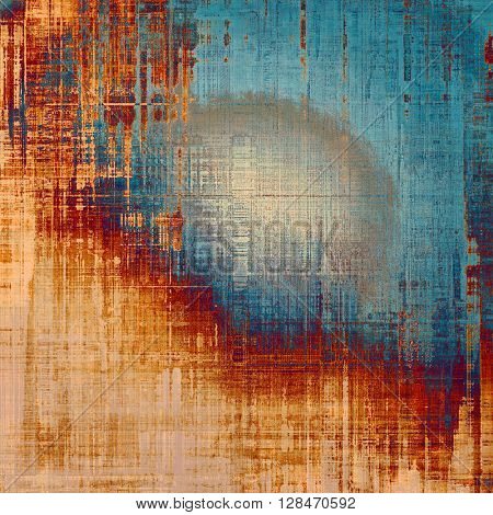 Scratched background with retro style overlay. Aged texture with different color patterns: yellow (beige); brown; gray; blue; red (orange)