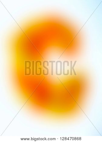 The variocolored blurred background and texture. Letter C.
