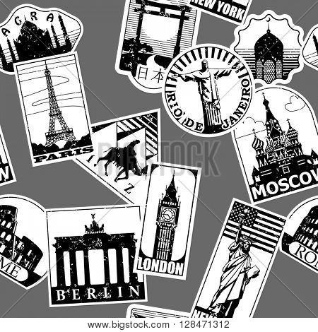 Vintage paper landmarks travel labels seamless pattern background in black and white. Travel stickers of cities: Paris, London, New York, Moscow, Berlin, Rome, Rio de Janeiro. Vector illustration.