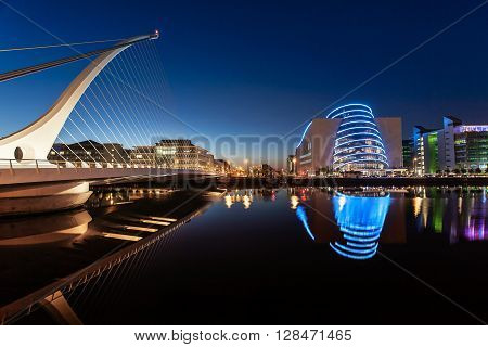 Dublin Ireland on June 06 2015  Dublin Centre at night with Samuel Beckett Bridge