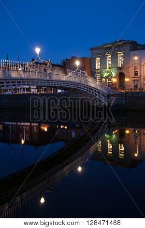 Dublin Ireland on June 06 2015  Famous Ha'penny Bridge at night, Ireland, Dublin