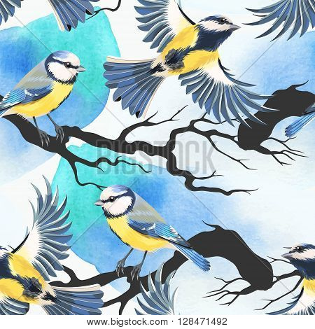 Tomtit and watercolor blots vector seamless background