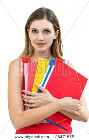 Beautiful woman with a folder on a white background