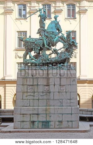 Statue of Sankt Goran, fighting with the Dragon in Stockholm, Sweden.