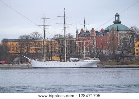 Sailboat in Stockholm harbour, Sweden