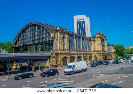 HAMBURG, GERMANY - JUNE 08, 2015: Dammtor train station in the center of Hamburg, behind Radisson hotel building