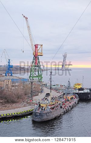 Cargo port in St. Petersburg, Russia