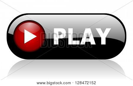 play red glossy web banner 3D illustration