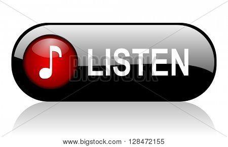 listen long black banner 3D illustration