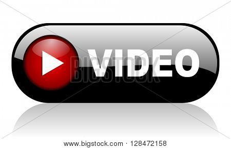 video red glossy web banner 3D illustration