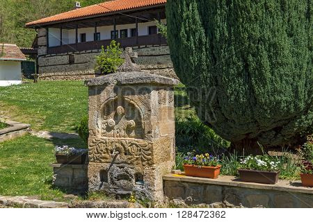 Amazing view with Fountain and Courtyard in Temski monastery St. George, Pirot Region, Republic of Serbia