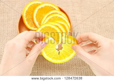 fruit in a wooden plate exposed to excellent illustration orange background of burlap spinning the main arm in termination of orange ready for consumption
