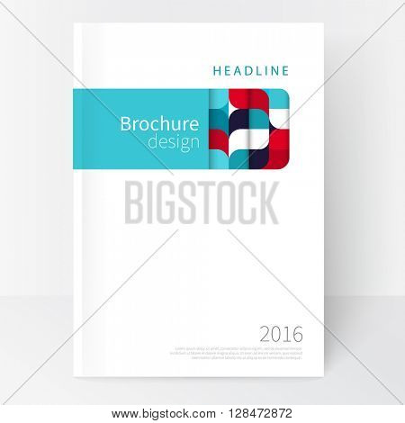 Red, white and blue Business brochure cover template. cover design annual report, leaflet, poster. Geometric Abstract background blue horizontal strip and squares. stock-vector EPS 10