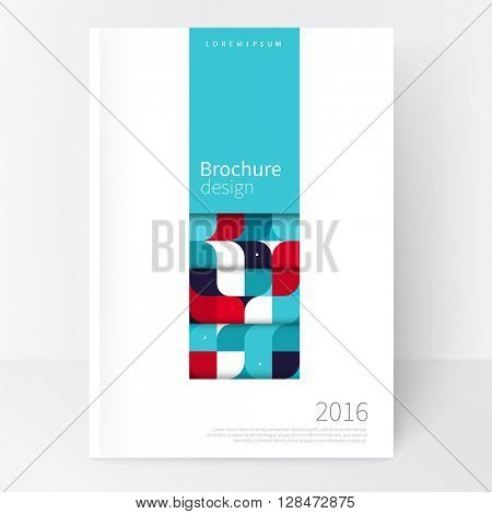 Red, white and blue Business brochure cover template. cover design annual report, flyer, leaflet, poster. Geometric Abstract background blue horizontal strip and squares. stock-vector EPS 10