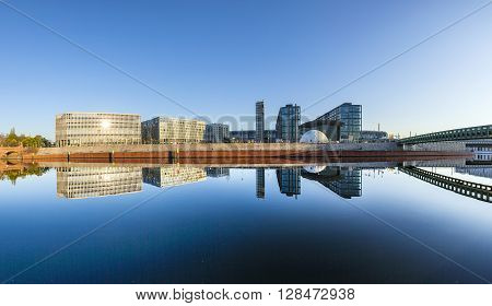 Morning View Of Central Station With Reflection From River Spree In Berlin