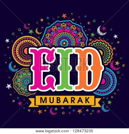 Colourful text Eid on beautiful floral design decorated background, Elegant greeting card design for Islamic Famous festival celebration.