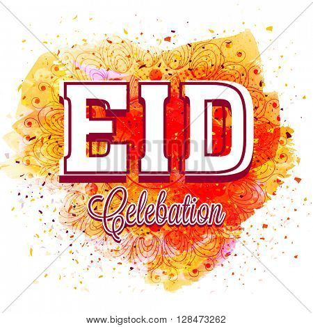 Creative Text Eid Celebration on beautiful floral design decorated abstract background, Elegant greeting card for Islamic Famous Festival celebration.