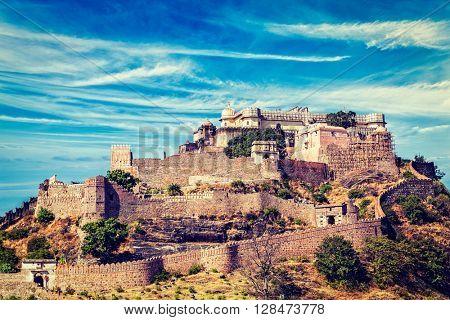 Vintage retro effect filtered hipster style image of Kumbhalgarh fort famous indian tourist landmark. Rajasthan, India