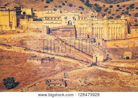 Vintage retro effect filtered hipster style image of famous Indian tourist destination  Amer (Amber) fort, Rajasthan, India