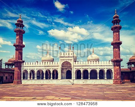 Vintage retro effect filtered hipster style image of Moti Masjid (Pearl Mosque), Bhopal, Madhya Pradesh, India