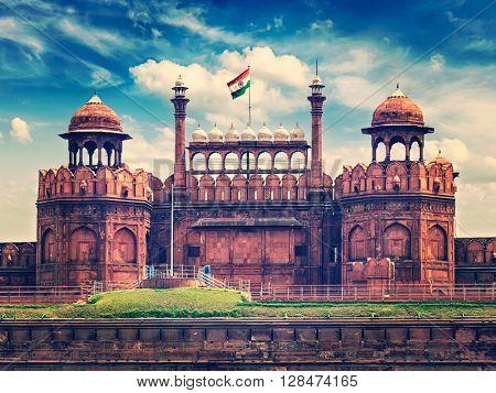 India travel tourism background - Vintage retro effect filtered hipster style image of Red Fort (Lal Qila) Delhi - World Heritage Site. Delhi, India