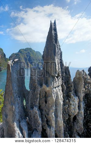 Beautiful sea landscape with sharp rocks . Philippines. Palawan Island .