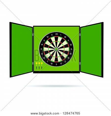 dartboard icon illustration with arrow on green