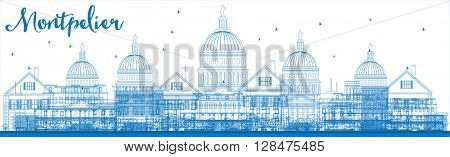 Outline Montpelier (Vermont) city skyline with blue buildings. Vector illustration.