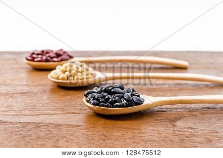 Soy Beans, Kidney Beans, Black Beans On Dark Wooden Background