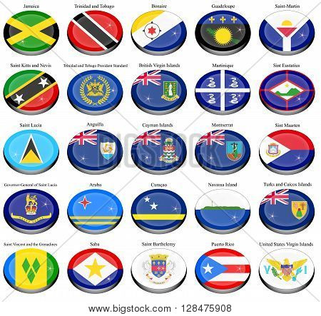 Set of icons. North and Central America's flags.