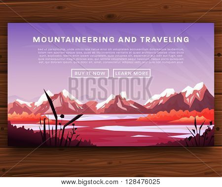 Mountaineering and Traveling Vector Illustration. Landscape with Mountain Peaks. Extreme Sports, Vacation and Outdoor Recreation Concept. Pine Forest. Summer and Spring Flowers. Wood Texture