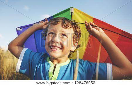 Children Boy Playing Kite Enjoyment Concept