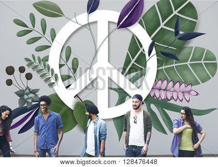 Peace Happy Hippie Love Retro Concept