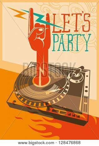 Party poster with turntable. Vector illustration.
