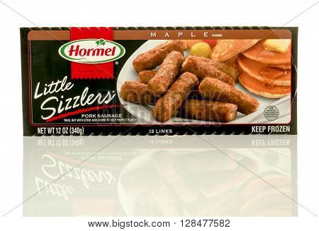 Winneconne WI - 4 Mayl 2016: Package of Hormel little sizzlers on an isolated background